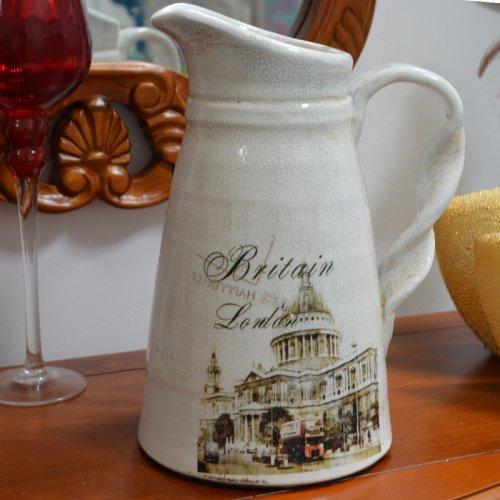 Vaza pentru flori, model carafa cu ilustratie din Londra